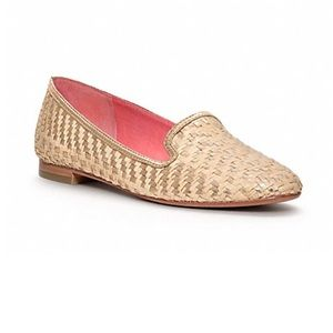 Authentic Coach Catrin straw gold flats size 8 1/2